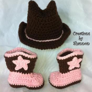 Infant Baby Girl Brown Pink Cowboy Boots and Hat