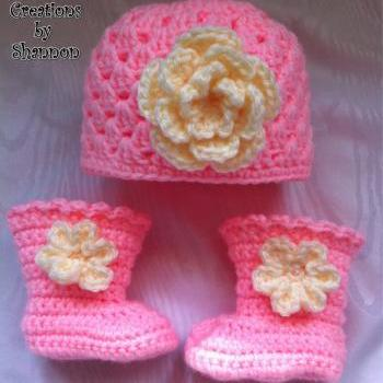 Infant Baby Girl Boots Booties and Shell Hat with Flower - Available in Newborn to 12 months - your choice color